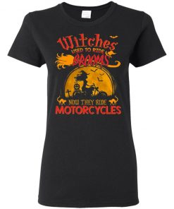 Witches Used to Ride Booms Now they Ride Motorcycles Halloween Shirt