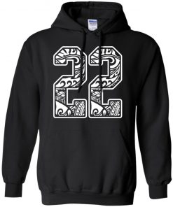 #22 Polynesian Tattoo White Number 22 Sports Fan Dark Hoodie Shirt Ls