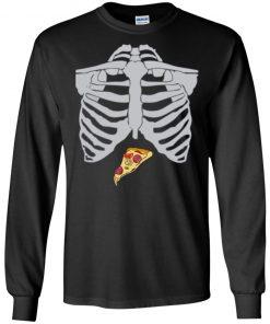 Pizza Skeleton Halloween Design T-shirt Long Sleeve Hoodie