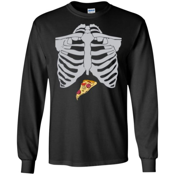 Pizza Skeleton Halloween Design T-shirt Long Sleeve Hoodie