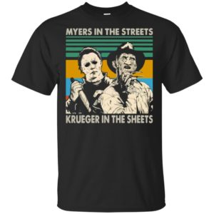 Myers In The Streets Krueger In The Sheets Halloween Shirt Long Sleeve Hoodie