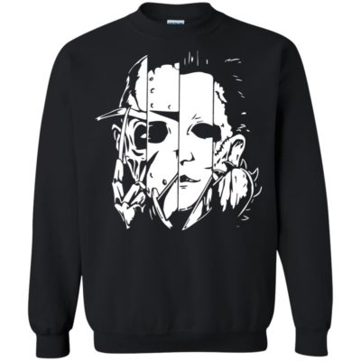 Halloween Horror Movie Characters Mashup Shirt Long Sleeve Hoodie