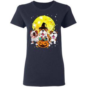 Bulldog Mummy Witch Dog Moon Ghosts Halloween T-Shirt Hoodie Long Sleeve