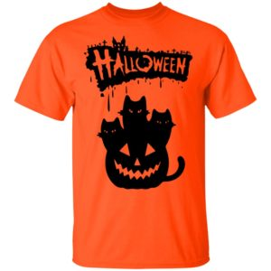 Halloween Pumpkin Cats Shirt Long Sleeve Hoodie