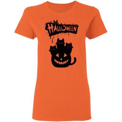 Halloween Pumpkin Cats Shirt Long Sleeve Hoodie