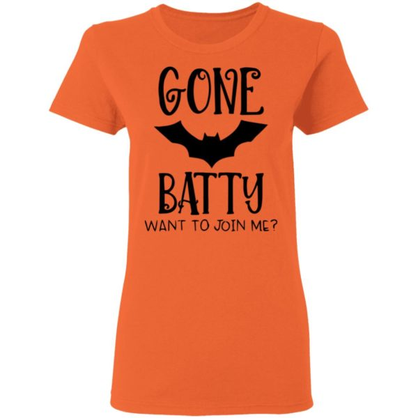 Gone Batty Want To Join Me Halloween Shirt Long Sleeve Hoodie