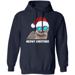 Meowy Christmas Funny Cat hoodie