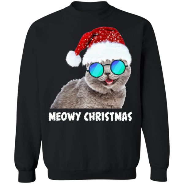 Meowy Christmas Funny Cat hoodie sweater