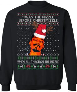 Snoop Dogg Twas the nizzle before Christmizzle when all through the hizzle memes Christmas Ugly sweater