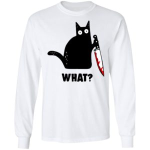 Cat What Murderous Black Cat With Knife T-shirt