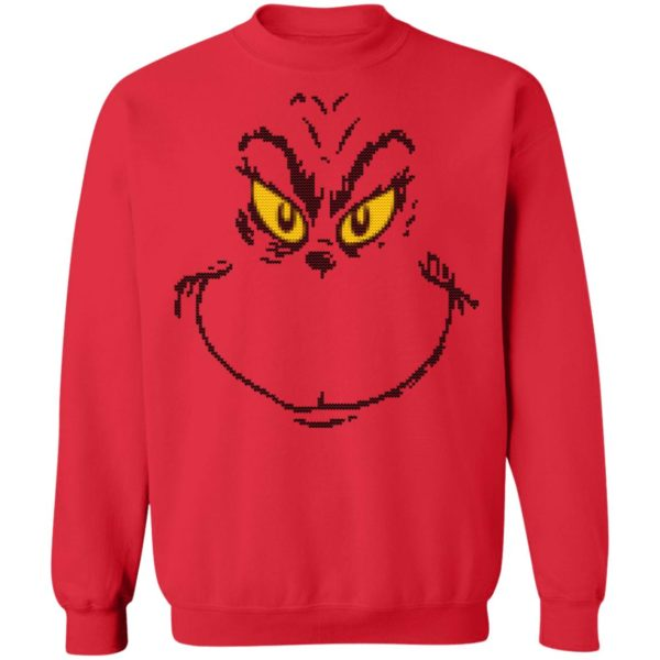 Dr. Seuss Men's Grinch Face Ugly Christmas Sweater Hoodie Ls