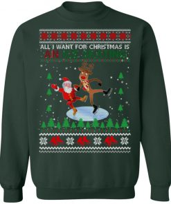 All I Want For Christmas Is An Ice Skating Ugly Christmas Sweater