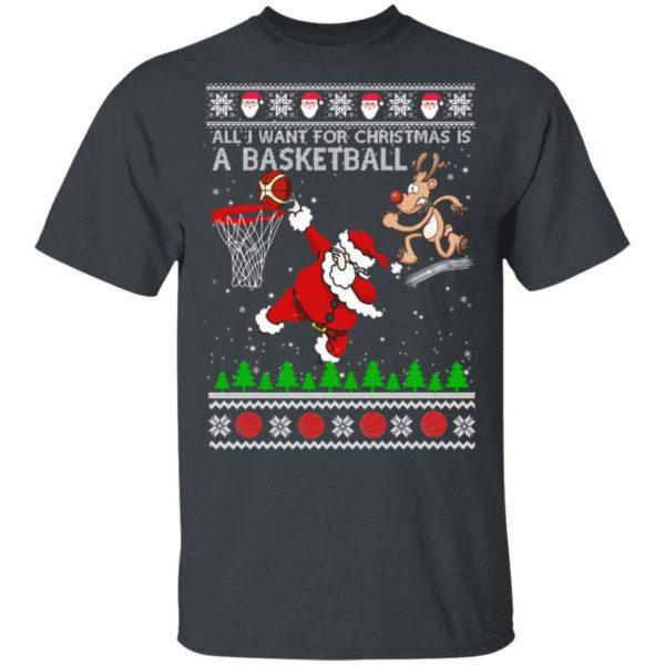 All I Want For Christmas Is A Basketball Santa Vs Reindeer Ugly Christmas shirt