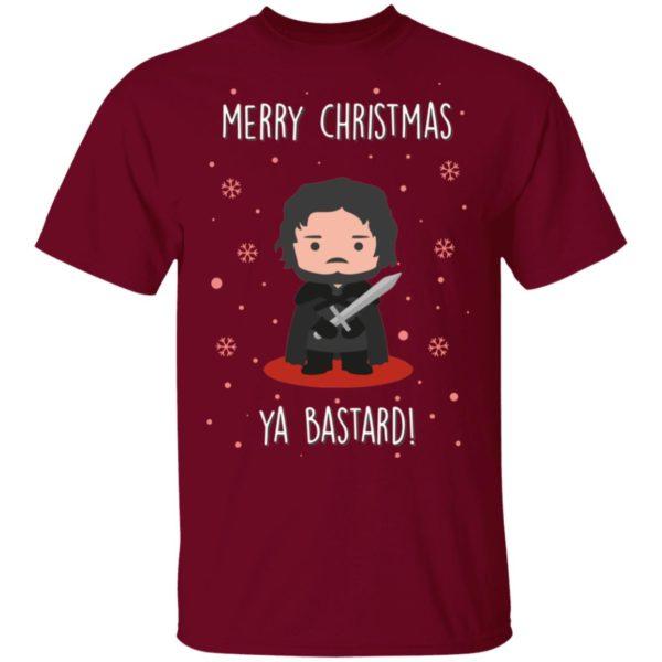 Game of Thrones GOT Jon Snow Merry Christmas Ya Bastard shirt