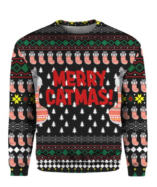Merry Catmas Funny 3D Ugly Christmas Sweater Hoodie