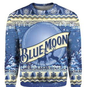 Blue Moon Beer Bottle 3D Print Ugly Christmas sweater