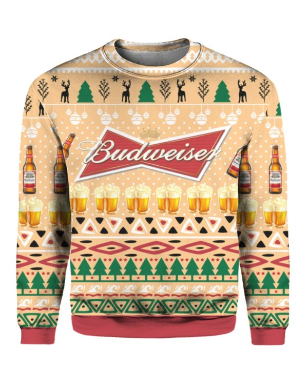 Budweiser Beer Bottle Funny Ugly Christmas Sweater Hoodie