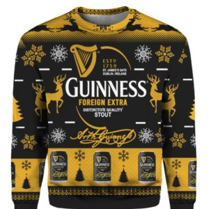 Guinness Foreign Extra Stout 3D Print Ugly Christmas Sweater