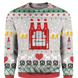 Budweiser Beer Red Bottles 3D Print Ugly Christmas Sweater