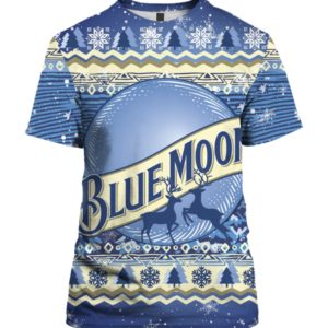 Blue Moon Beer Bottle 3D Print Ugly Christmas shirt