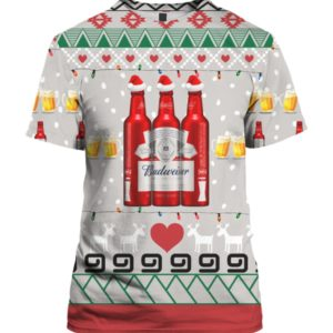 Budweiser Beer Red Bottles 3D Print Ugly Christmas shirt
