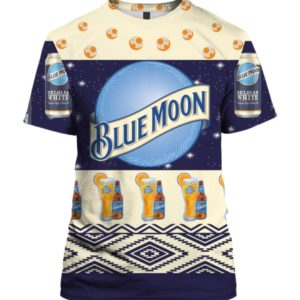 Blue Moon Belgian White Beer 3D Print Ugly Christmas shirt