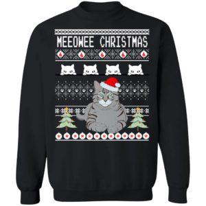 Grey Cat Wish Owner Meeowee Santa Ugly Christmas Sweater