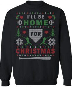 I'll Be Home For Christmas Baseball Ugly Christmas Sweater