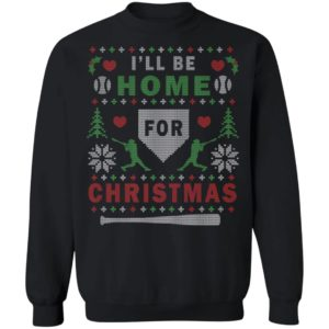I'll Be Home For Christmas Baseball Ugly Christmas Sweater