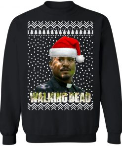 The Walking Dead Father Gabriel Stokes Santa Hat Christmas Sweatshirt