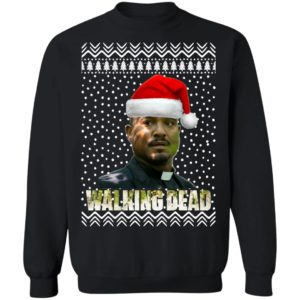 The Walking Dead Father Gabriel Stokes Santa Hat Christmas Sweatshirt