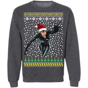 DC Comic Catwoman Santa Hat Ugly Christmas Sweatshirt