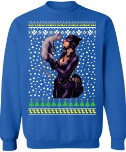 DC Comic Catwoman and Cat Ugly Christmas Sweatshirt