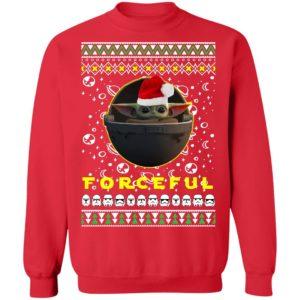 Baby Yoda In The Mandalorian Forceful Santa Hat Ugly Christmas Sweatshirt