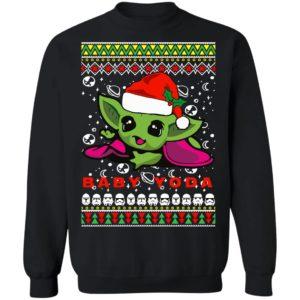 Baby Yoda Santa Hat Ugly Christmas Sweatshirt