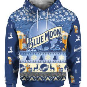 Blue Moon Beer Bottle 3D Print Ugly Christmas hoodie
