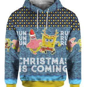 Spongebob Patrick Star Christmas Is Coming 3D Print Ugly Christmas hoodie