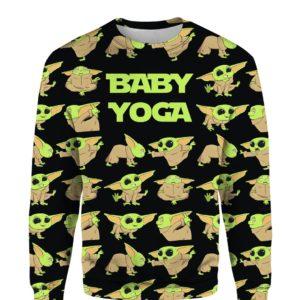 Baby Yoda Doing Yoga The Mandalorian 3D Print sweater