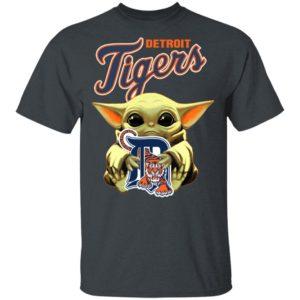 Baby Yoda Hug Detroit Tigers Logo Shirt