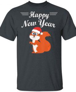 Happy New Year Cute Squirrel With Santa Hat Shirt