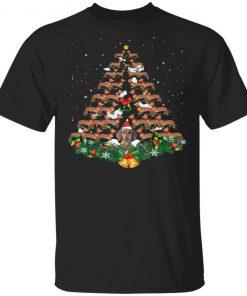 Dachshund dog christmas tree lights santa hat shirt sweater hoodie