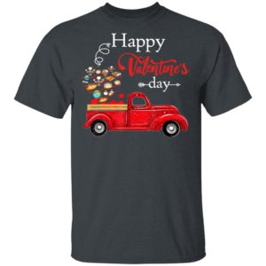 Happy Valentine's Day Truck Carrying Geography Supplies Heart T-Shirt