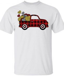 Buffalo Plaid & Leopard Heart Truck Valentines Day T-Shirt