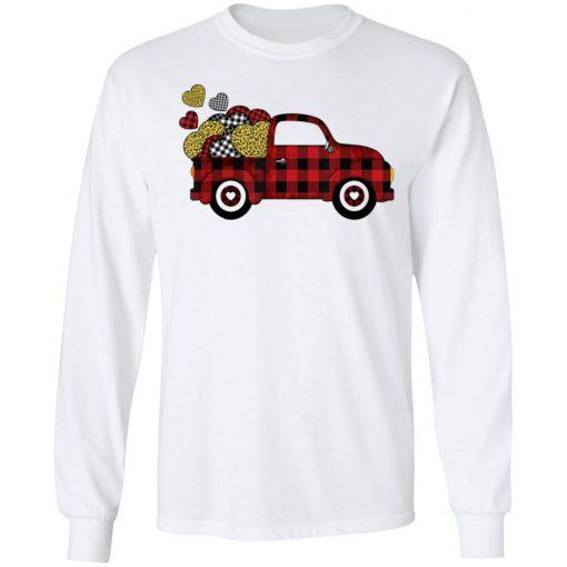 Buffalo Plaid & Leopard Heart Truck Valentines Day T-Shirt