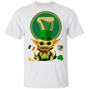 Baby Yoda Hug Harp Lager Beer St Patrick's Day Shirt Raglan Hoodie