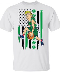 Trump Basketball St Patrick's Day American Shamrock Flag T-Shirt
