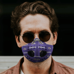 Baltimore Ravens FACE MASK SPORT WITH FILTERS CARBON PM 2.5