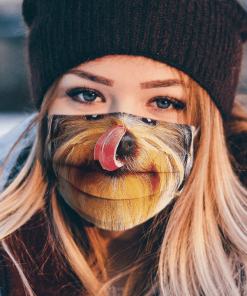 YORKSHIRE TERRIER LICKING CUTE PET PUPPY FACE MASK