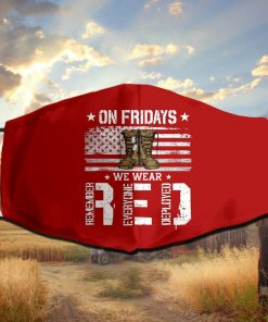 On Friday We Wear Red American Flag Veteran Face Mask