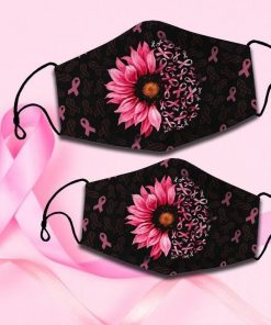 Pink Sunflower Ribbon face mask